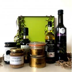 Coffret de LUXE Huile d'Olive Fruité Noir * Truffe Noire * Balsamique * Foie Gras