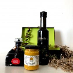 Coffret Huile d'Olive Fruité Noir de Provence  & Vinaigre Balsamique & Pesto